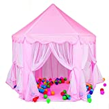 Heaven Tvcz Play Tent Pink Kids Princess Castle House Indoor/Outdoor Boys Girl Portable w/ LED Lights for Girls Boys