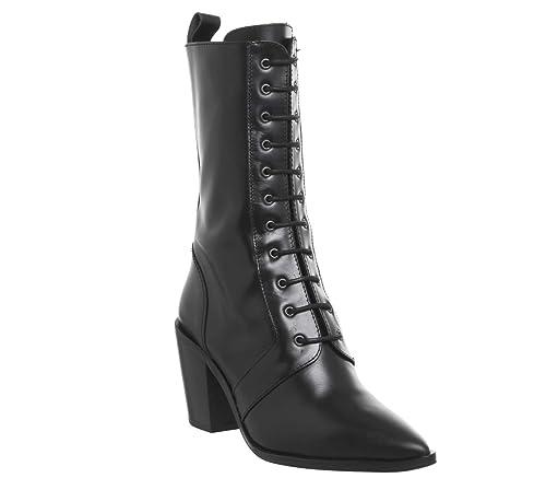 b270ea15d88 Office Komissioner- Lace Up Calf Boot Black Leather - 6 UK: Amazon ...