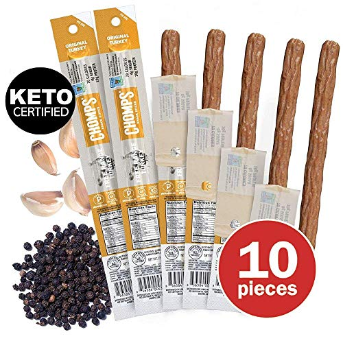 CHOMPS Free Range Turkey Jerky Meat Snack Sticks | Keto Certified, Whole30 Approved, Paleo, Low Carb, High Protein, Gluten Free, Sugar Free | 70 Calorie 1.15 Oz Sticks, Original Turkey 10 Pack