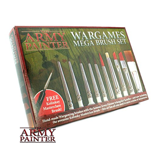 rushes with FREE Masterclass Kolinsky Sable Hair Brush - Durable Miniatures Paint Brush Set, Wargamer Brushes with Comfortable Grip - Wargames Mega Brush Set by The Army Painter (Model Master Paint Brush)