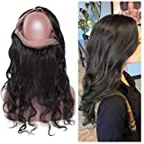 360 Lace Frontal Closure Body Wave 12inch Brazilian Virgin Human Hair Pre Plucked Free Part with Baby Hair Natural Hairline (Off Black #1B,130% Density)