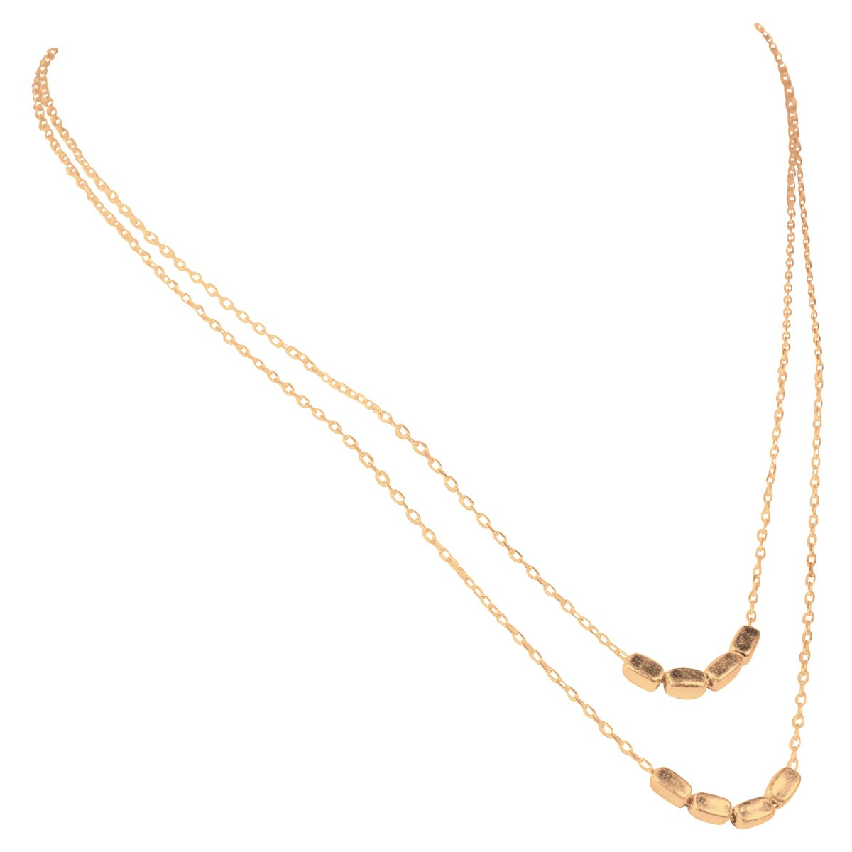 """Zoetik Worn Gold Plated Layered Block Necklace, approx 17.5"""""""