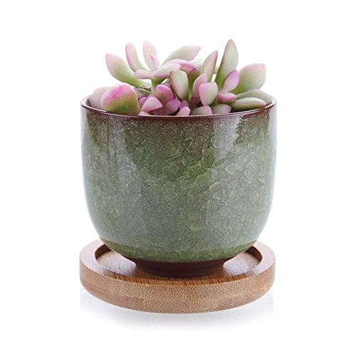 Light Raised Planter (T4U 2.5 Inch Ceramic Ice Crack Zisha Raised Serial succulent Plant Pot/Cactus Plant Pot Flower Pot/Container/Planter light green with Bamboo Trays)