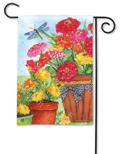 BreezeArt Studio M Marigolds and Zinnias Decorative Garden Flag – Premium Quality, 12.5 x 18 Inches