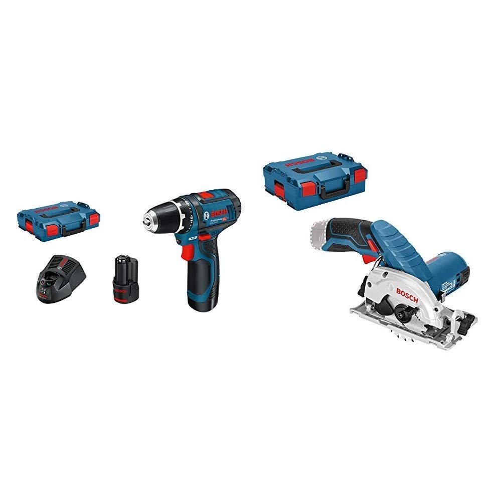 Bosch Professional 0601868109 Atornillador a batería, 10.8 W, 12 V, Negro, Azul + Bosch Professional 06016A1002 GKS 12V-26 L-Boxx, Azul
