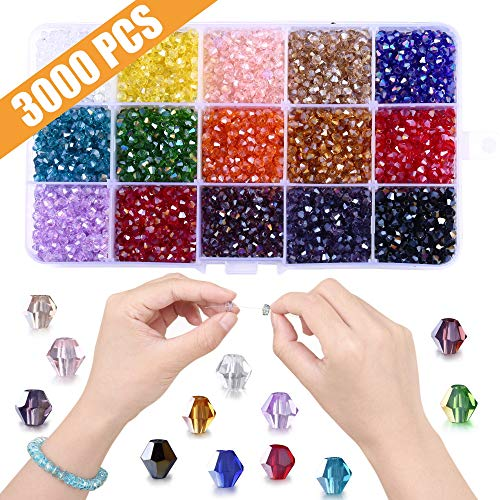 Beads for Jewelry Making, 3000pcs Faceted Bicone Crystal Glass Beads- Perfect for Handmade Crafts, DIY Bracelet, Necklaces, Dolls(15 Color- AB Colorful, 4mm)