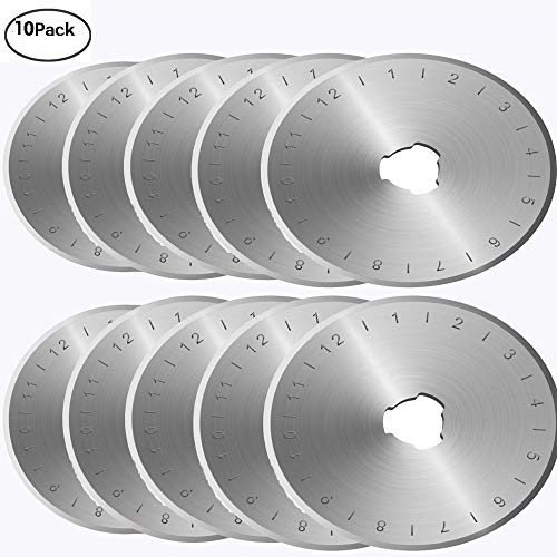 45mm Rotary Cutter Blades Set of 10, Fits All Rotary Cutter for Sewing Arts Crafts. (Sharp and Durable)