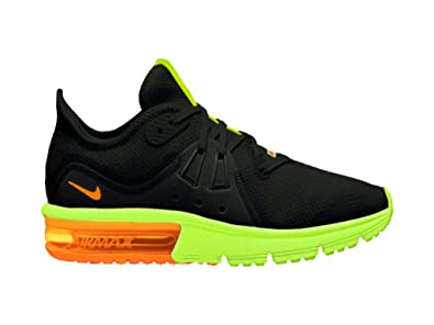 the latest 6ac72 cae0d Nike Men s Air Max Sequent 3 Running Shoes (Black Total Orange-Volt,