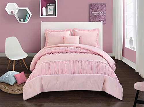Pop Shop Addison Textured Comforter Set, Full/Queen, Pink