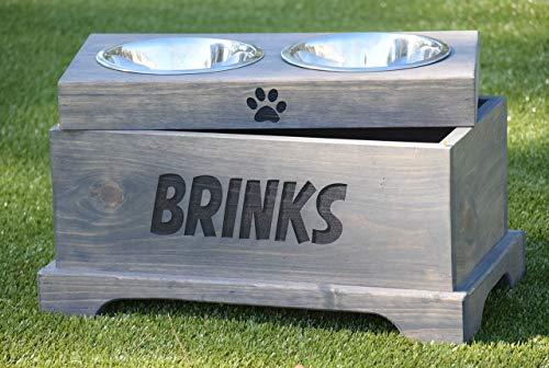 Elevated Dog Feeder and Storage Box - Elevated Dog Bowl - Rustic Dog Bowl Stand - Raised Dog Bowl - Raised Dog Feeder - Pet Bowl Stand ()