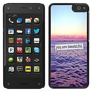 You Are Beautiful Ocean Sunset Sky texto - Metal de aluminio y de plástico duro Caja del teléfono - Negro - Amazon Fire Phone