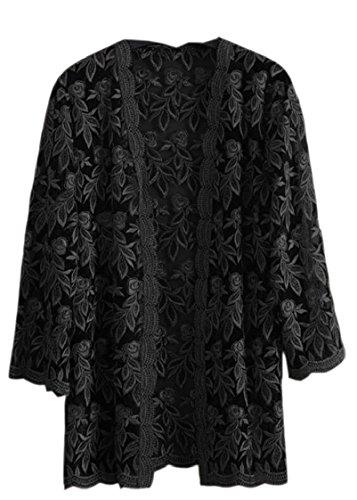 Acrylic Transparent Coat - XQS Transparent Floral Tops Women Lace Kimono Cardigan Suncreen Jacket Black L