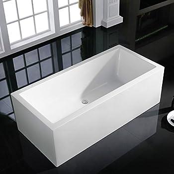 Charming MAYKKE Moorepark 67 Inches Modern Rectangle Acrylic Bathtub Freestanding  White Tub In Bathroom, CUPC Certified
