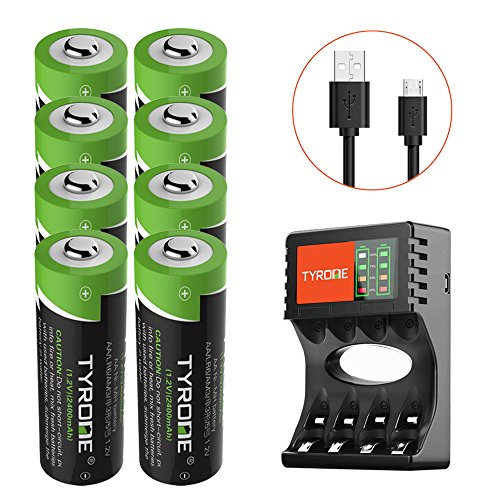 le Battery NiMH 2400mAh 1.2V Battery Pack for Solar Lights Outdoor, Garden Lights, Remotes, Mice, 8-Pack Batteries with Charger [ USB Port Set ][ High-Capacity ] ()
