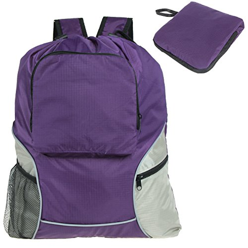 Teamoy Foldable Sackcpack Drawstring Backpack Gym Bag with Straps, Pockets, Reflective Tapes, Purple
