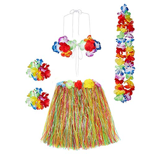 Hawaiian Luau Costumes (Gorse Hula Grass Skirt with Flower Leis Costume Set, Elastic Luau Grass and Hawaiian Luau Costume Set Flower Bracelets, Headband, Necklace,Bra for Party)