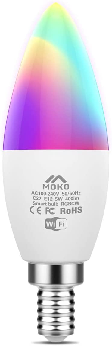 MoKo Smart WiFi LED Light Bulb, 5W E12 Candelabra Base, RGB Warm White Dimmable Candle Bulb, Work with Alexa Echo/Google Home/SmartThings, Voice/APP Control, No Hub,Only 2.4GHz Network