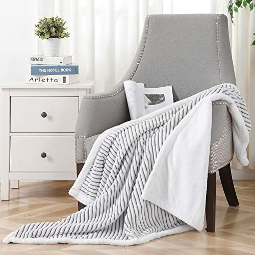 SOCHOW Sherpa Fleece Throw Blanket, Super Soft Fluffy Warm Stripe Plush Blanket for Sofa Couch Bed