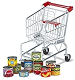Bundle Includes 2 Items - Melissa & Doug Toy Shopping Cart With Sturdy Metal Frame and Melissa & Doug Let's Play House Grocery Cans Play Food Kitchen Accessory 10 Stackable Cans With Lids
