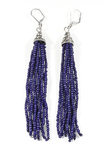 Pewter Dangle Pierced Earrings - Tassel Style, Blue Beaded Tassel Earrings, Dangle 4 Inches