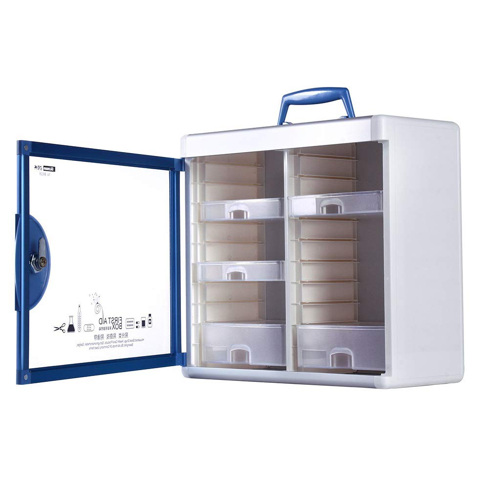Glosen First Aid Box Lockable Medicine Box with Wall Mounted Function 13.6x6.5x12.4 Inch Blue by Glosen (Image #7)