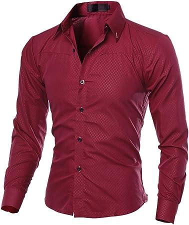 ECOSWAY Camisas Casuales para Hombres Nueva Camisa De Vestir De Moda Tops Ropa De Hombre, Rojo Vino, 4XL: Amazon.es: Hogar