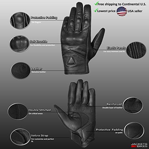 Men's Premium Leather Street Motorcycle Protective Cruiser Biker Gel Gloves L by Jackets 4 Bikes (Image #2)