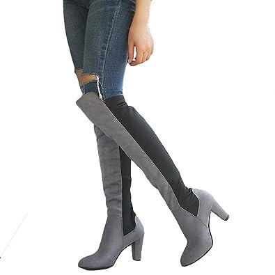 Damen Stiefel - Overknee Stiefel Casual Elegante Schuhe Hoher Absatz Herbst  Winter Wildleder Mode High Boots 734a2f3b69