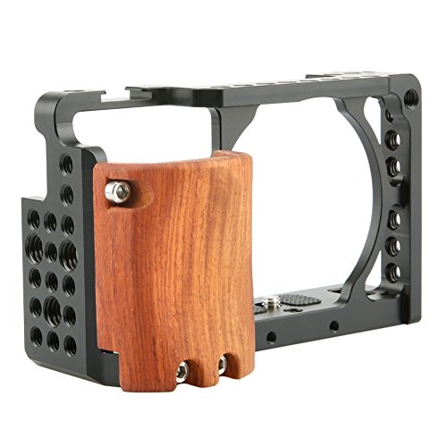 NICEYRIG A6100/ A6300 /A6400/ A6000 Camera Cage with Cold Shoe and Wooden Handgrip - 109