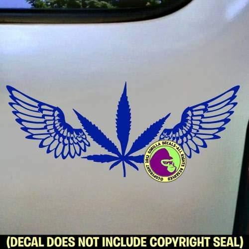 MARIJUANA LEAF WITH WINGS Vinyl Decal Sticker (Grower Sticker)