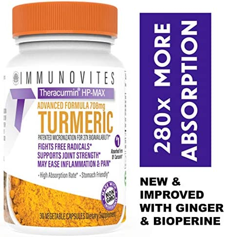 Theracurmin HP-MAX with Ginger Bioperine 708mg High Absorption Turmeric Curcumin 1 Bottle – 1 Month Supply