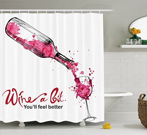 Wine Shower Curtain by Ambesonne, Wine a Bit You Feel Better Inspirational Quote Bottle Pouring Sketch Art, Fabric Bathroom Decor Set with Hooks, 70 Inches, Pink Dark Coral Black
