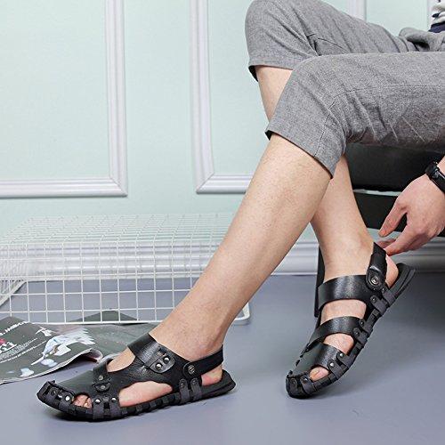 Herren Rutschfest Sandalen Slide Geschlossene Sandalen Leder Freizeit Hausschuhe Outdoor Sommer Strand Pantolette Schwarz