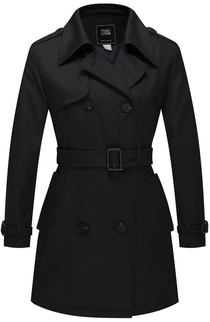 ZSHOW Women's Double-Breasted Twill Belted Trench Coat US X-Small Black