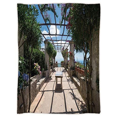 Sofa Amalfi (Yaoni uper Soft Throw Blanket Custom Cozy Thickened Blanket,Italian Decor,Beautiful Panorama Villa Rufolo Ravello Amalfi Coast Historical Famous Nature,Multicolor,Suitable for Sofas,beds)