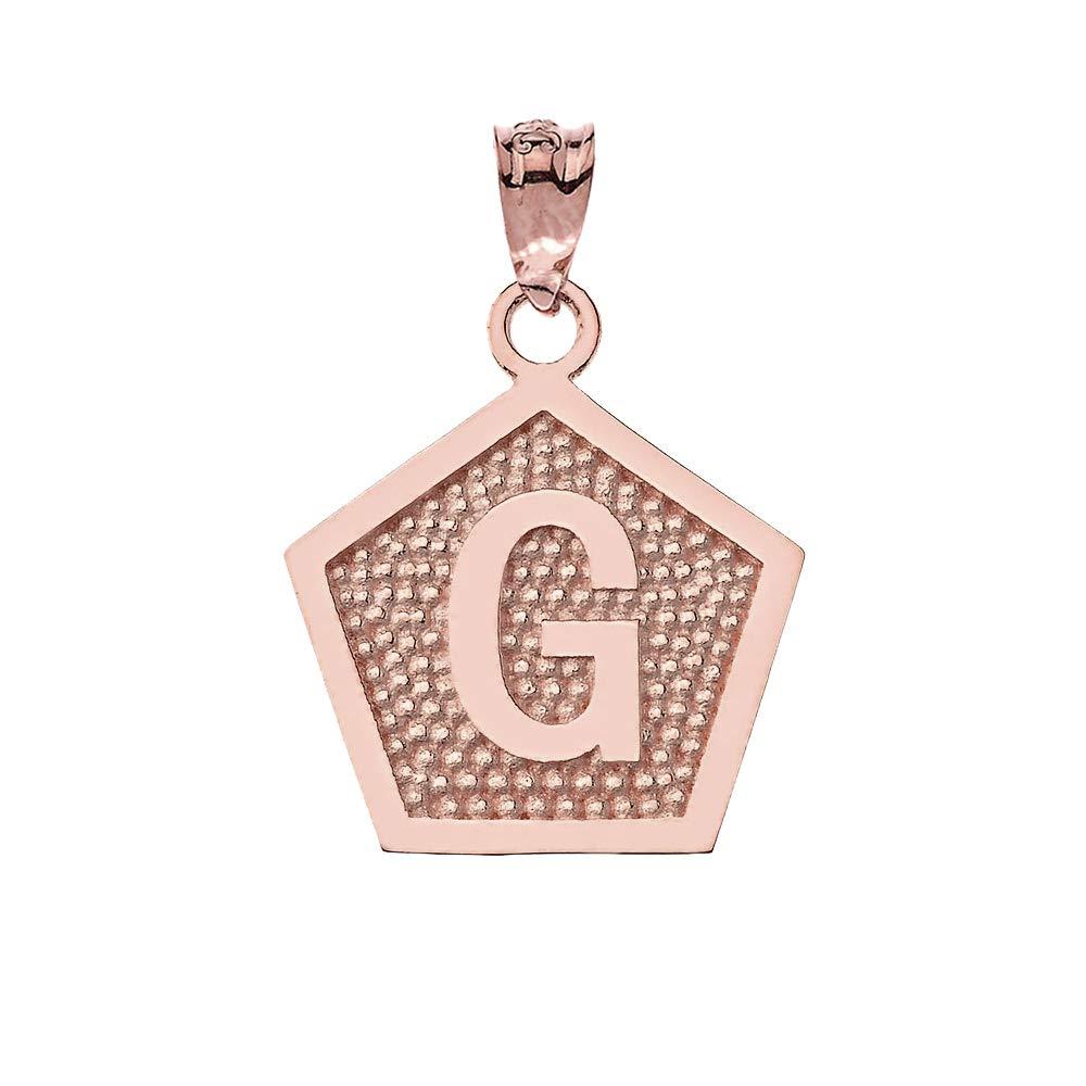 LA BLINGZ 10K Rose Gold Letter G Initial Pentagon Pendant Necklace