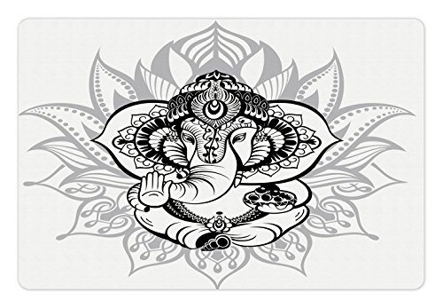 Ambesonne Bohemian Pet Mat for Food and Water, Elephant Sitting Inside Majestic Lotus Flower His Pot Belly Spiritual Graphic Print, Rectangle Non-Slip Rubber Mat for Dogs and Cats, Black (Pot Belly Dogs)