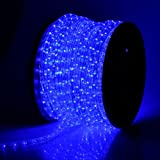 Blue LED 150 Ft 2-Wire Flexible 1620 Bulbs Rope Light w/ Power Cords Connectors Glue PVC Tubing Cuttable for Holiday Strip Ribbon Christmas Decorative Lighting Outdoor