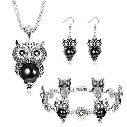 Milacolato Retro Vintage Owl Necklace Earrings Bracelet Jewelry Set Women Girls Turquoise Agate Gemstone Jewelry Antique Silver Tone (Antique Set Earrings)