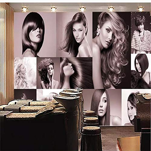 XZCWWH Custom Wallpaper Hd Fashion Haircut Hair Salon Background Wall Painting Poster Wall Sticker Door Sticker,300Cm(W)×210Cm(H)