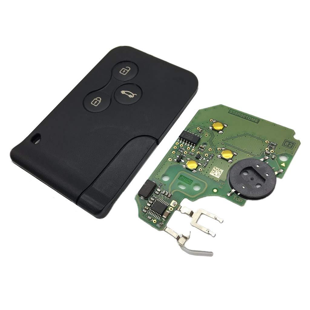 KunmniZ® - Chip de 3 Botones 433 MHz 7947 con Llave remota Inteligente para Coche Renault Megane Scenic 2003-2008 Card