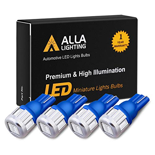 Alla Lighting 4x 194 LED Blue Bulbs Super Bright Samsung 5630 SMD T10 Wedge 2825 W5W 175 194 LED Bulbs for Replacing License Plate Tag Interior Map Dome Side Marker Courtesy Cargo Lights, Ultra Blue