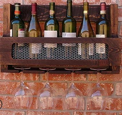 Barra rústica de madera sólida pared botelleros copas ...