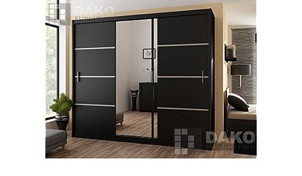 Puerta corredera gran armario con espejo 250 cm, ancho VISTA negro ...