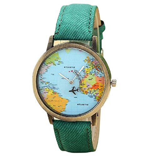Tootu New Global Travel By Plane Map Women Dress Watch Denim Fabric Band