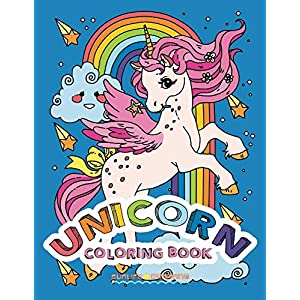 UNICORN Coloring Book: Two sets of 25 Coloring Pages with Unicorns on White and Black Backgrounds for Kids and Adults