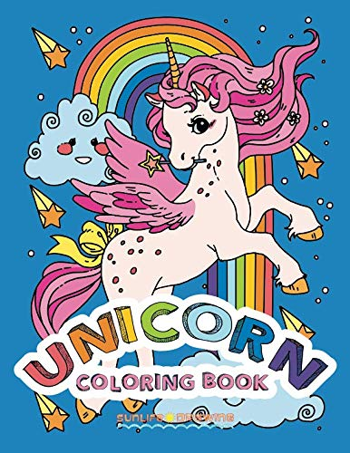 UNICORN Coloring Book: Two sets of 25 Coloring Pages with Unicorns on White and Black Backgrounds for Kids and Adults 3