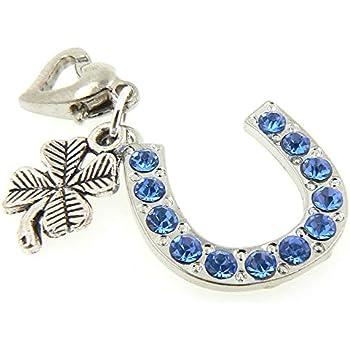 Something Blue Crystal Horse Shoe /& Four Leaf Clover Bride Gift Garter Charm