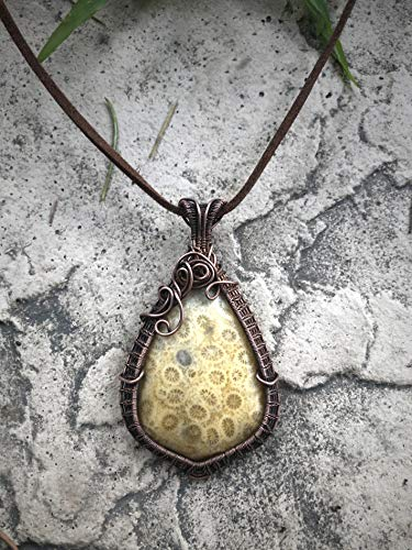 Wire-Wrapped Coral Fossil Necklace, Ancient Fossilized Coral Pendant, Copper Wire Fossil Cabochon Pendant
