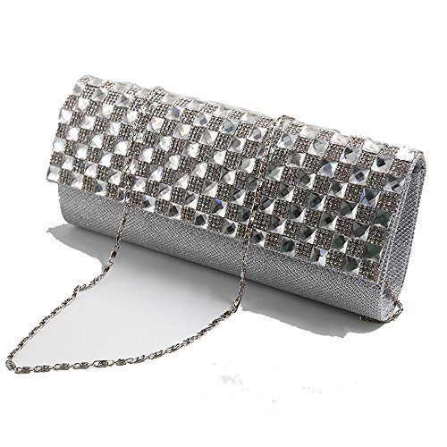 DILER Womens Pleated Crystal-Studded Satin Handbag Evening Clutch Dark blue0001 Silver00001